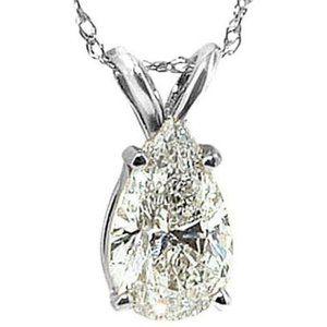 0.75 Ct. Pear Diamond Pendant White Gold Necklace